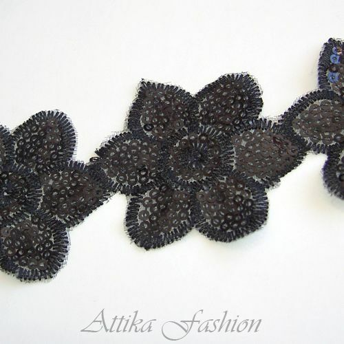 Black Floral Sequined Embroidered Scallop Trim *per yard* -