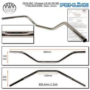 Fehling-Guidon-Medium-amp-Large-LN40HD-1-Pouces-avec-Harley-Delle-Chrome