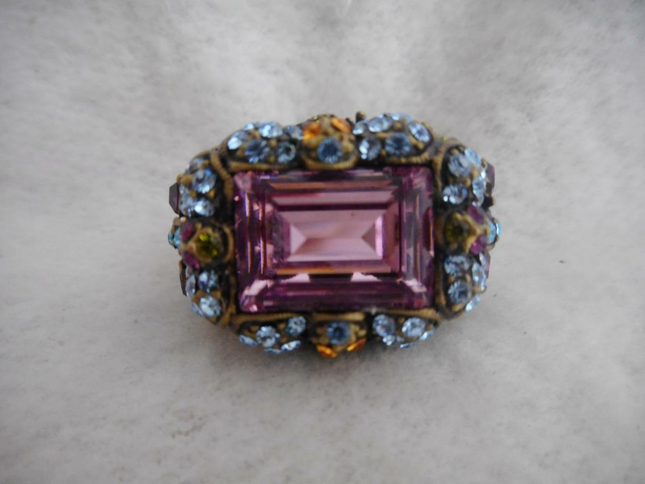 Heidi Daus  purple emerald east  west & multi color crystal accents ring - 10.5
