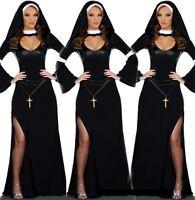 Ladies Nun Costume Religious Sister Hen Party Fancy Dress Halloween 8 10 12 14