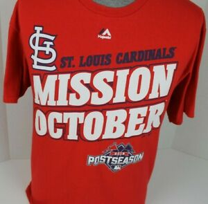 70ba8ab1 Details about 2015 ST. LOUIS CARDINALS MLB POSTSEASON PLAYOFFS ROSTER  MAJESTIC T-SHIRT SIZE L