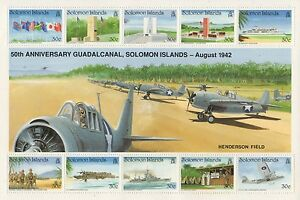 50TH-ANNIVERSARY-BATTLE-OF-GUADALCANAL-SOLOMON-ISLANDS-1992-MNH-STAMP-SHEETLET