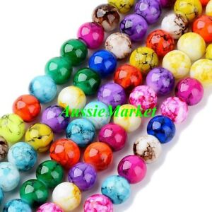 50-x-glass-beads-marble-effect-marbled-mixed-colours-loose-8mm-jewellery-jewelry