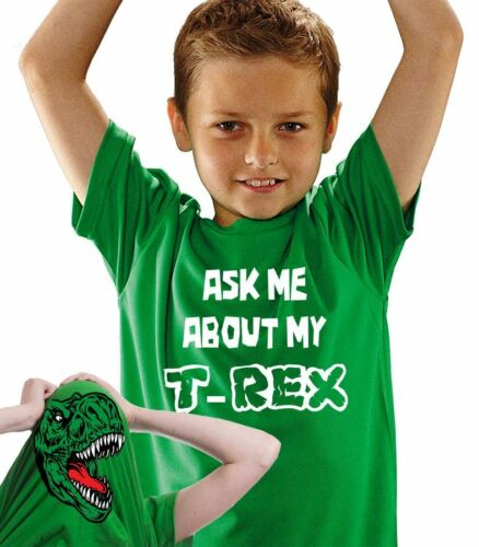 Premium Ask Me About My T-Rex Kids T-shirt Dinosaur Gift Party Dino Flip Tee