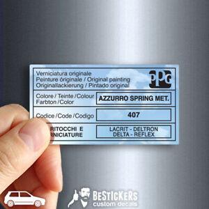Adesivo etichetta vernice PPG Fiat Uno Turbo ecc Azzurro Spring metallizzato 407
