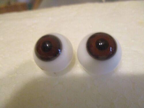 16 mm Antique Brown Handblown  Glass Eyes 10.5 mm Iris Germany   X25