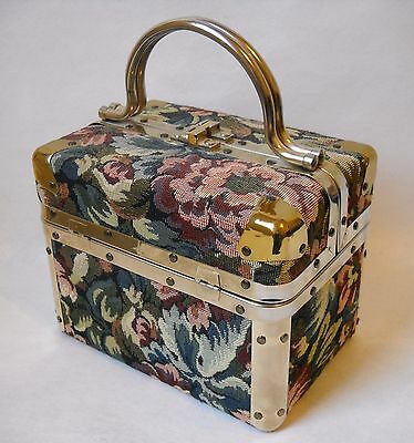 Delill Tapestry Box Purse Floral Fabric Handbag Gold Metal Trim Train Case Lined