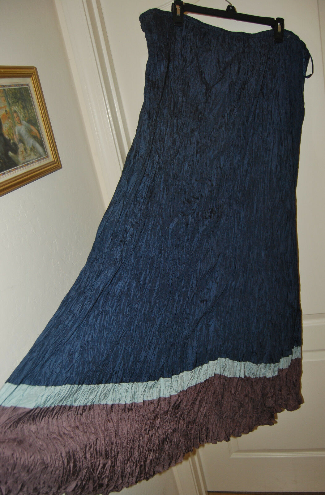 LONG TALL SALLY Silk blueE Plum crinkle stretch waist MAXI SKIRT 18 NEW  135