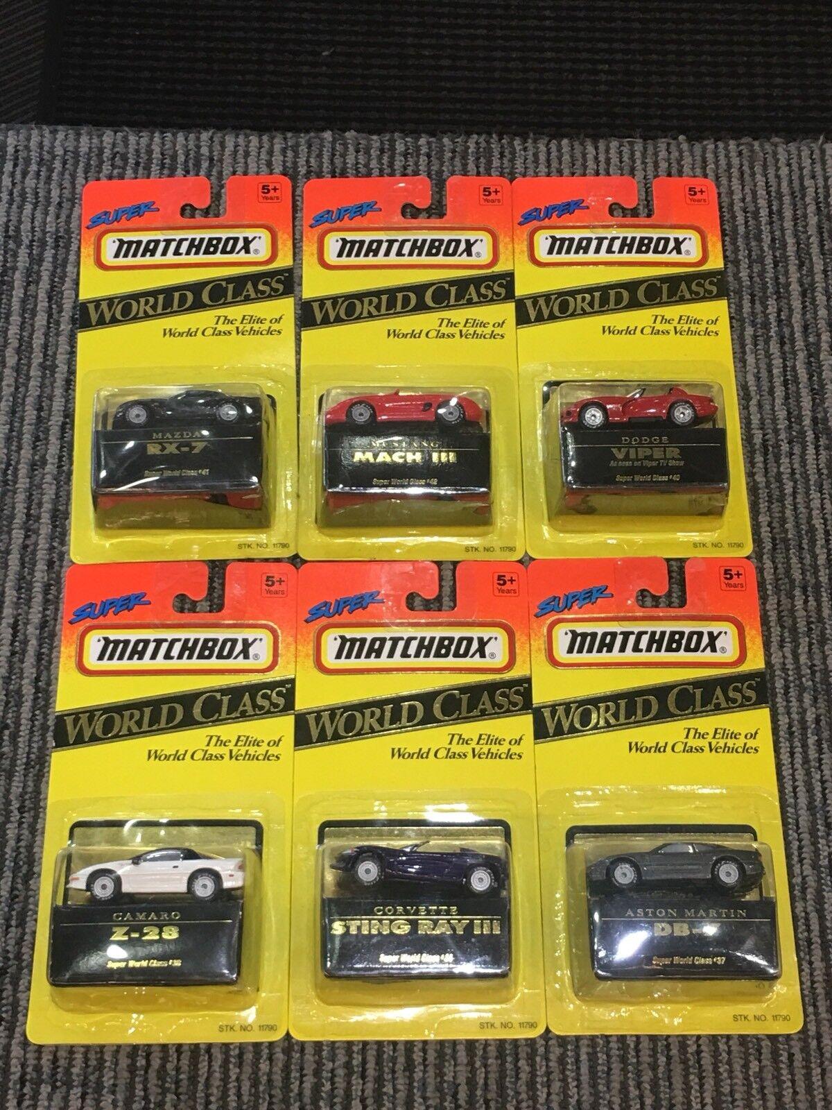 Neuf dans sa boîte Lot de 6 Matchbox Super Classe Mondiale complet 11790 Viper, Camaro, Mazda etc.