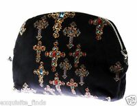 Versace Cross Printed Black Velvet Clutch Bag