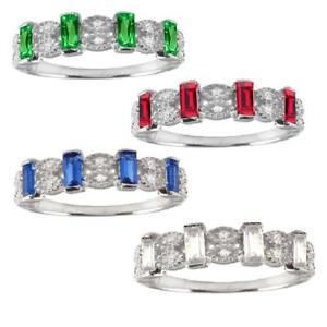 Sterling Silver Band Ring w// Clear /& Colored CZ Stones