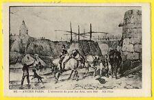 cpa Gravure Ancien PARIS L'ABREUVOIR du PONT des ARTS vers 1840 Chevaux Bateaux