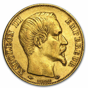 France Gold 20 Francs Napoleon III Avg Circ