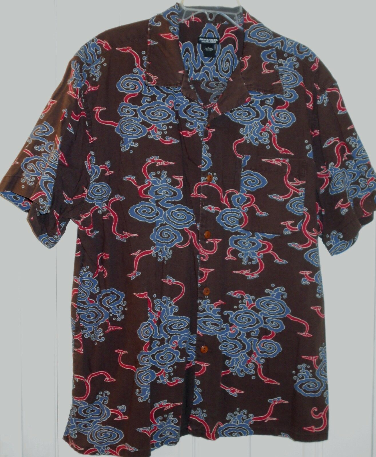 Vtg Mens RALPH LAUREN POLO Asian Hydra Dragon Space Worms Brown bluee Red SHIRTL