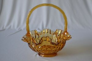 "Fenton Fenton Colonial Amber Thumbprint Basket # 4438 Ca 8 1/2"" Tall"