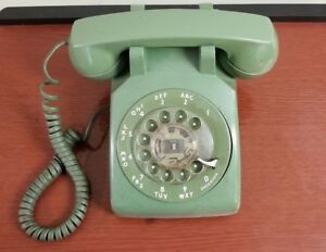 Vtg-Western-Electric-Bell-Green-Rotary-Dial-Desk-Phone-500DM-R81-10