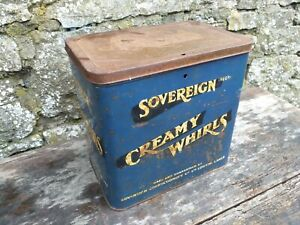 Collectable-Rare-c1950-039-s-Vintage-Sovereign-Creamy-Whirls-7lb-Tin