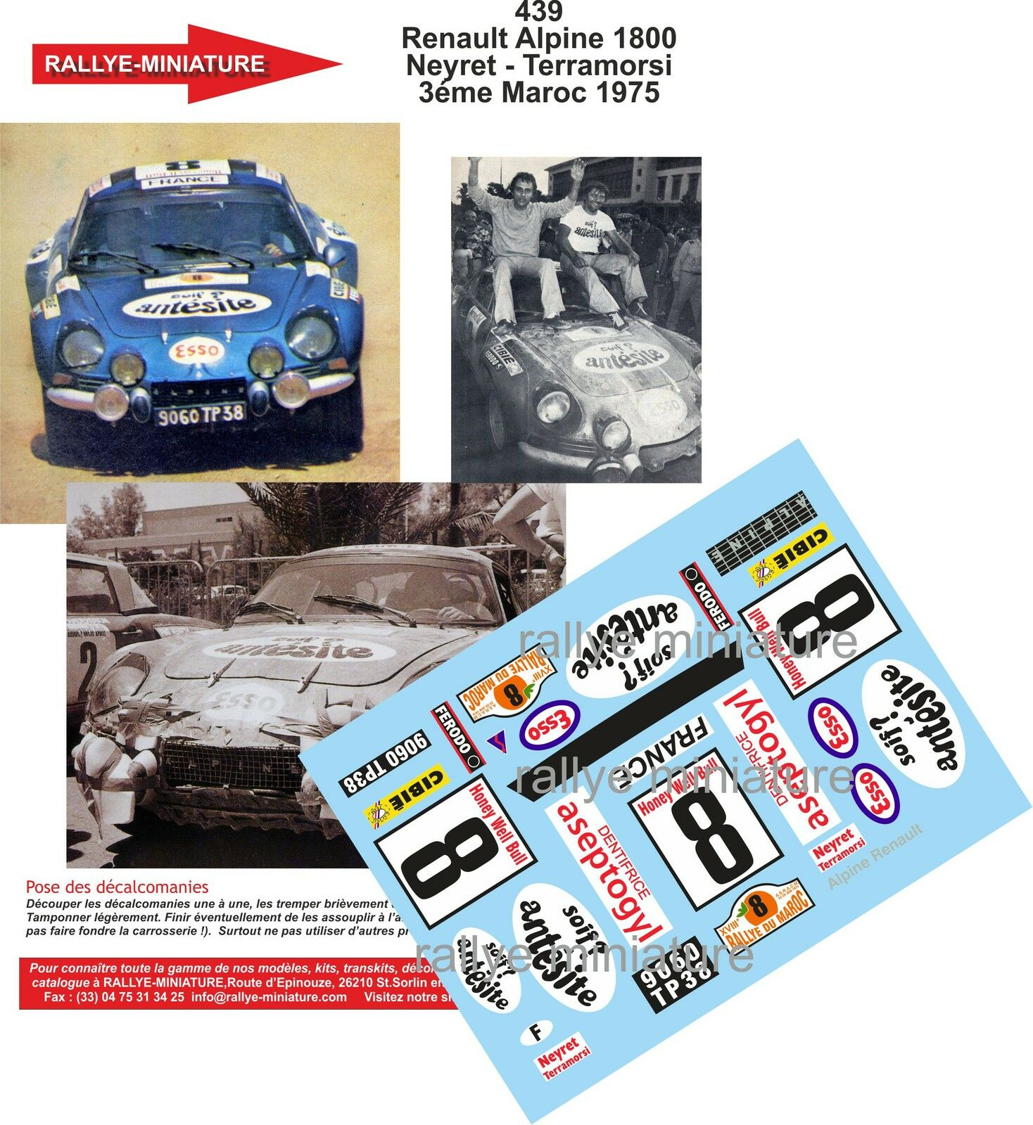 DECALS 1 24 REF 439 ALPINE RENAULT A110 NEYRET RALLYE MAROC 1975 RALLY WRC