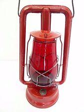 Antique Old Dietz Hi-Lo New York Red Glass Shade Tubular Barn Lantern Lamp Metal