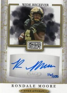 """Rondale Moore, Purdue, 2021 Sage Draft Football """"Gold"""" RC auto 16/100"""