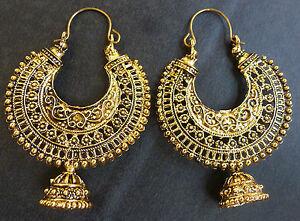 b67e5eda8e3daa Sale ...... Vintage Antique Gold Plated Chand Bali Half Circle Indian ...