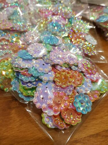 20mm Lager Flower AB Round Paillette Cup Loose Sequins Sewing Wedding Art Craft