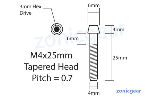 x4 Titanium Ti Bolt M4x25mm Tapered Head Hex M4 25L Bicycle Screw US Seller