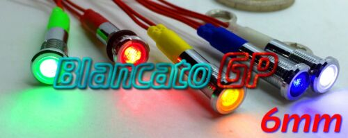 SPIA LED ROSSO 12V DC METALLO FLAT 6mm IP67 auto moto camper nautica segnalatore