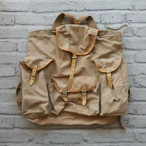 Vintage-Rucksack-Backpack-Lafuma-Swiss-French-Army-Worn-Leather-60s