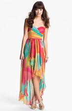 LAUNDRY ~ Multi Chiffon Strapless Hi-Low Semi-Formal Gown Size 4 NEW $365