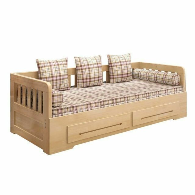 Wooden Bed Sofa Set Home Bedroom Living Room Couch Pull Out Modern Decor  Fixture
