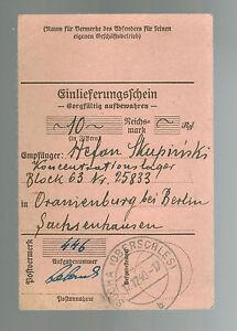 1940 Germany SAchsenhausen Concentration Camp money order Receipt KZ S Skupinski