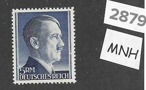 2879-Adolph-Hitler-stamp-MNH-1940s-5RM-Third-Reich-WWII-Germany-Sc527a
