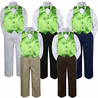 4pc Lime Green Vest Bow Tie Suit Pants Set Baby Boy Toddler Kid Uniform S-7