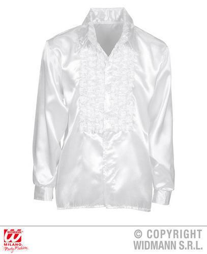 Satin Ruffle Shirt White Mens 1970 s Latino Salsa Fancy Dress Costume Tenue M//L