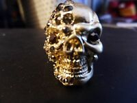 Bling Skull Skeleton Middle Finger Ring Rhinestone Adjustable/one Size Goldtone