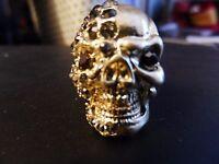 Bling Skull Skeleton Middle Finger Ring Rhinestone Adjustable/one Size Goldtone