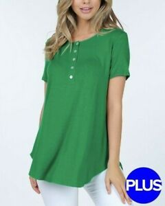 Kelly-Green-Plus-Size-Button-Down-loose-Fit-Short-Sleeve-Blouse-Top-1x-2x-3x