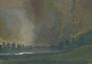 20th-Century-Acrylic-Atmospheric-Misty-Landscape