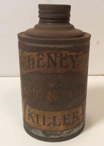 ORIGINAL-VINTAGE-ANTIQUE-1906-CHENEY-BED-BUG-KILLER-CONE-TOP-TIN-CAN-RARE-BOSTON