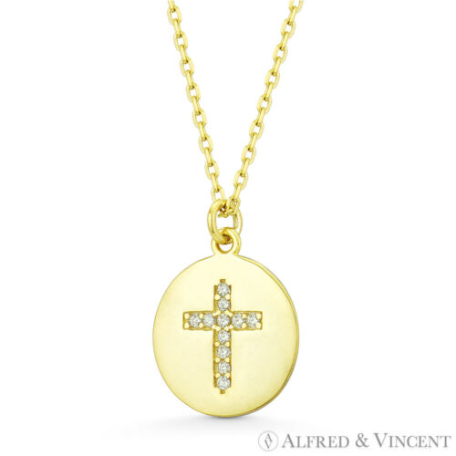 Round Disc /& Cross CZ Crystal Charm Pendant Solid .925 Sterling Silver Necklace