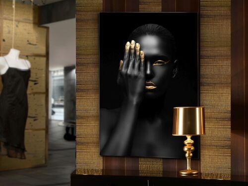 Wandbild Glas Dekoration schwarz gold abstrakt Wohnzimmer ORONEGRO