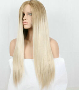 Natural Brown Platinum Ash Blonde Hair Lace Front Wig Long Straight