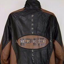 Perry Ellis America Leather Bomber Jacket Vtg 90s Quilted Lining Mens Size L EUC