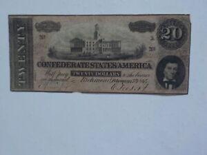 Civil-War-Confederate-1864-20-Dollar-Bill-Richmond-Virginia-Paper-Money-Note-CS