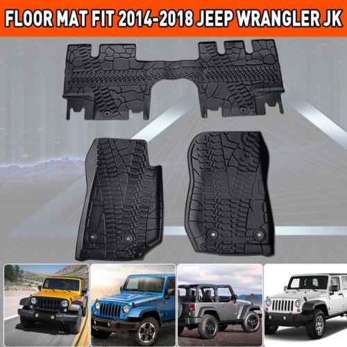 TURBO SII  3PCS Fit for 14-18 Jeep Wrangler JK Floor Mats  All Season Rubber