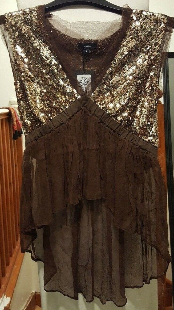 SEQUINED TOP BROWN gold
