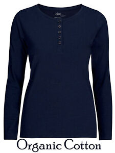 Ladies-Navy-Amira-Organic-Cotton-Long-Sleeve-Button-Front-T-Shirt-Top-Sizes-8-26