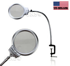 ILLUMINATED MAGNIFYING CLAMP ON TABLE DESK LAMP LED LIGHTED MAGNIFIER LARGE USA