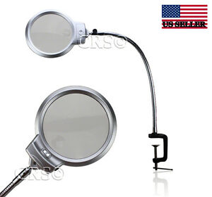 Image Is Loading Illuminated Magnifying Clamp On Table Desk Lamp Led